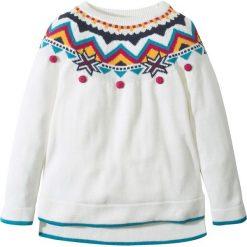 Sweter dzianinowy w norweski wzór bonprix biel wełny - kolorowy. Swetry dla dziewczynek bonprix, z dzianiny. Za 69.99 zł.