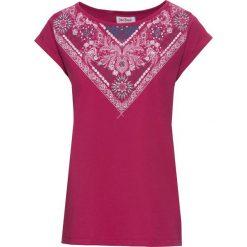 T-shirt z bawełny z nadrukiem, krótki rękaw bonprix jeżynowy z nadrukiem. T-shirty damskie marki DOMYOS. Za 27.99 zł.