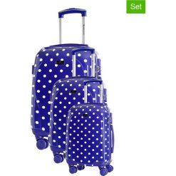 Zestaw walizek w kolorze niebieskim ze wzorem - 3 szt. Walizki męskie Platinium, z materiału. W wyprzedaży za 659.95 zł.