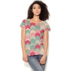 Colour Pleasure Koszulka CP-034  101 miętowo-beżowo-różowa r. XL/XXL. T-shirty damskie Colour Pleasure. Za 70.35 zł.