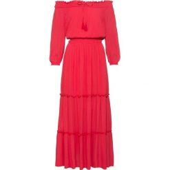 """Sukienka z dekoltem """"carmen"""" bonprix czerwony. Czerwone sukienki damskie bonprix, na lato, z kołnierzem typu carmen. Za 149.99 zł."""