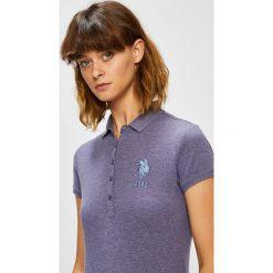 U.S. Polo - Top. Szare topy damskie U.S. Polo, z bawełny, polo, z krótkim rękawem. W wyprzedaży za 159.90 zł.