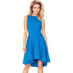 66-14 gruba lacosta - ekskluzywna sukienka z dłuższym tyłem - kobaltow. Niebieskie sukienki damskie NUMOCO. Za 137.00 zł.