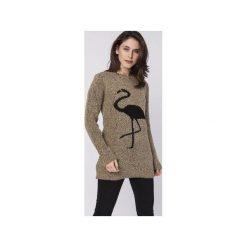 Sweter z flamingiem, SWE131 mocca MKM. Brązowe swetry damskie Mkm swetry, z dzianiny. Za 138.00 zł.