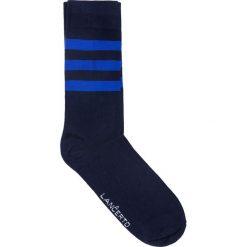 Skarpety w Paski. Niebieskie skarpety męskie LANCERTO, w kolorowe wzory, z bawełny. Za 29.90 zł.