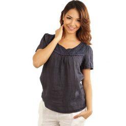 """Lniana koszulka """"Geneve"""" w kolorze granatowym. T-shirty damskie 100% Leinen, w koronkowe wzory, z koronki, klasyczne, z okrągłym kołnierzem, z krótkim rękawem. W wyprzedaży za 65.95 zł."""