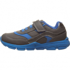 Sneakersy w kolorze szaro-niebieskim. Niebieskie trampki i tenisówki chłopięce Geox Kids, z materiału. W wyprzedaży za 117.95 zł.
