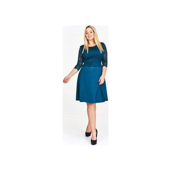 82c3f862 Sukienka z dopasowaną koronkową górą i swobodnym lekko rozkloszowanym dołem  wiązana w pasie