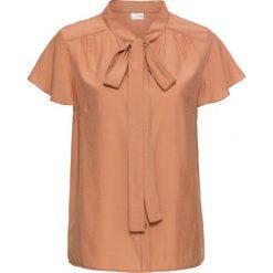 Bluzka z krawatką, krótki rękaw bonprix jasny koniakowy. Brązowe bluzki damskie bonprix, eleganckie, z krótkim rękawem. Za 74.99 zł.