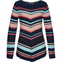 Sweter asymetryczny bonprix ciemnoniebiesko-kolorowy. Swetry damskie marki bonprix. Za 109.99 zł.