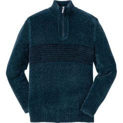 Sweter z szenili Regular Fit bonprix niebieskozielony. Swetry przez głowę męskie marki Giacomo Conti. Za 89.99 zł.