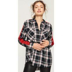 Koszula z lampasami - Czarny. Czarne koszule damskie Sinsay. W wyprzedaży za 39.99 zł.