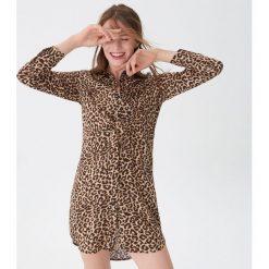 Koszulowa sukienka w panterkę - Czarny. Czarne sukienki damskie House, z motywem zwierzęcym, z koszulowym kołnierzykiem. Za 119.99 zł.