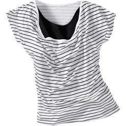 """T-shirt z dekoltem """"wodą"""" bonprix biało-czarny w paski. T-shirty i topy dla dziewczynek marki bonprix. Za 21.99 zł."""