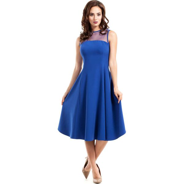 3b7d4509 Chabrowa Sukienka Midi z Transparentnym Karczkiem bez Rękawów
