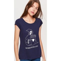 Koszulka HALLOWEEN - Granatowy. Niebieskie t-shirty damskie Cropp. Za 19.99 zł.