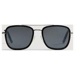 Mango Man - Okulary Square. Brązowe okulary przeciwsłoneczne męskie Mango Man, z materiału. Za 119.90 zł.