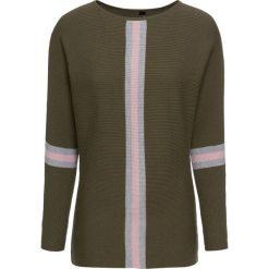 Sweter dzianinowy bonprix ciemnooliwkowo-matowy jasnoróżowy - szary. Zielone swetry damskie bonprix, z dzianiny, z dekoltem w łódkę. Za 109.99 zł.