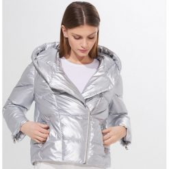 Pikowana kurtka z kapturem Srebrny