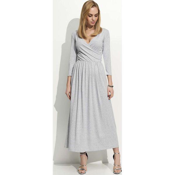 e846ee267e Szara Sukienka Wizytowa Długa z Kopertowym Dekoltem - Szare sukienki ...
