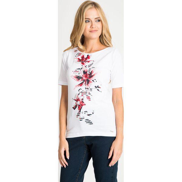 593591c9 Biała bluzka z kwiatami na przodzie QUIOSQUE