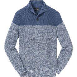 Sweter Regular Fit bonprix indygo-biały. Niebieskie swetry przez głowę męskie bonprix, ze stójką. Za 89.99 zł.