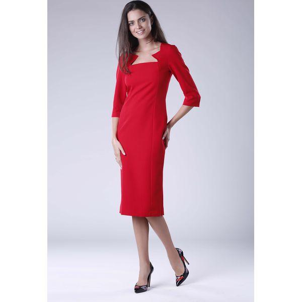 a5ba98a09d Czerwona Elegancka Dopasowana Sukienka za Kolano z Dekoltem Caro ...