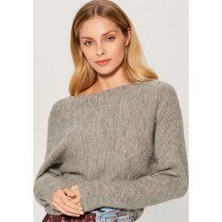 Sweter z wełną alpaki - Szary. Szare swetry damskie Mohito, z wełny. Za 129.99 zł.