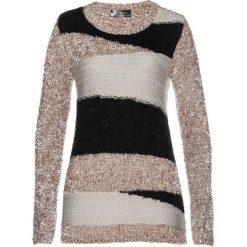 Sweter z puszystej przędzy bonprix czarno-kamienisto-piaskowy. Swetry damskie marki bonprix. Za 89.99 zł.