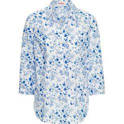 Tunika z nadrukiem, rękawy 3/4 bonprix biało-lazurowy niebieski. Białe tuniki damskie bonprix, z nadrukiem. Za 24.99 zł.