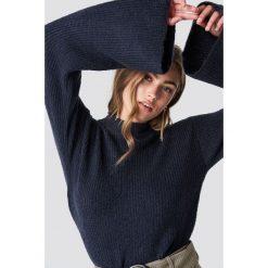 Rut&Circle Sweter z szerokim rękawem - Blue,Navy. Niebieskie swetry damskie Rut&Circle, z dzianiny, z golfem. Za 161.95 zł.
