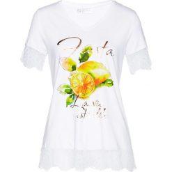 T-shirt z koronką bonprix biało-żółty z nadrukiem. T-shirty damskie marki DOMYOS. Za 74.99 zł.