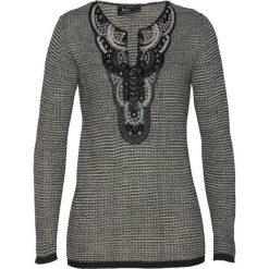 Sweter z aplikacją bonprix czarno-kamienisty. Swetry damskie marki bonprix. Za 149.99 zł.