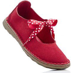 Baleriny skórzane bonprix czerwony. Czerwone baleriny damskie bonprix, w kropki. Za 109.99 zł.