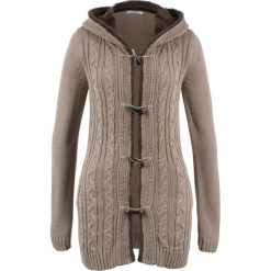 Sweter rozpinany z guzikami kołkami bonprix brunatny. Brązowe kardigany damskie bonprix. Za 124.99 zł.