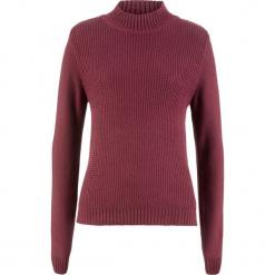 Sweter bawełniany ze stójką i strukturalnym wzorem bonprix bordowy. Czerwone swetry damskie bonprix, z bawełny, ze stójką. Za 74.99 zł.