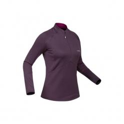 Koszulka narciarska MD 500 damska. Fioletowe t-shirty damskie WED'ZE, z elastanu. Za 79.99 zł.
