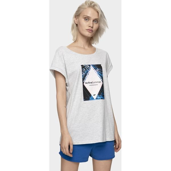 T shirt damski TSD414 biały Białe t shirty damskie xl, z