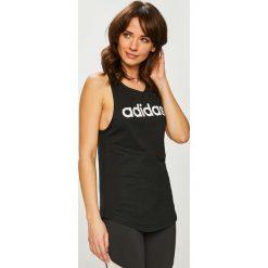 Adidas Performance - Top. Różowe topy damskie adidas Performance, z nadrukiem, z bawełny, z okrągłym kołnierzem, bez rękawów. Za 79.90 zł.
