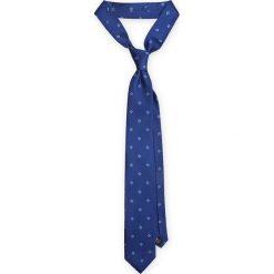 KRAWAT NIEBIESKI. Niebieskie krawaty i muchy LANCERTO, w geometryczne wzory, z jedwabiu, eleganckie. Za 139.90 zł.