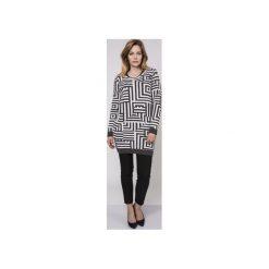 Długi sweter, SWE161 grafit/ecru MKM. Białe swetry damskie Mkm swetry, z dzianiny. Za 148.00 zł.