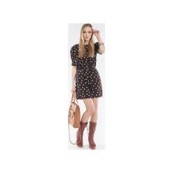Sukienka/tunika w groszki z paskiem SL2143. Brązowe tuniki damskie Soleil, w grochy, z krótkim rękawem. Za 98.00 zł.