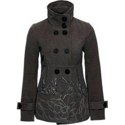 Krótki płaszcz bonprix szary melanż z haftem. Płaszcze damskie marki FOUGANZA. Za 189.99 zł.