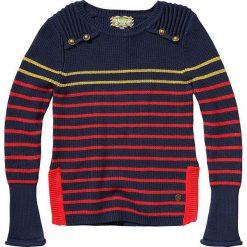 """Sweter """"Melsa"""" w kolorze granatowo-czerwono-żółtym. Swetry dla dziewczynek marki bonprix. W wyprzedaży za 85.95 zł."""