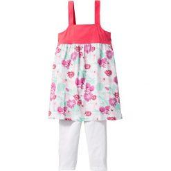 Sukienka + legginsy 3/4 (2 części) bonprix biało-jasnoróżowy z nadrukiem. Legginsy dla dziewczynek marki OROKS. Za 24.99 zł.