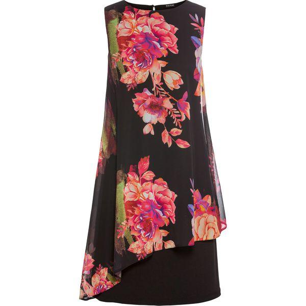 376718c54f Sukienka z dżerseju z szyfonową wstawką bonprix czarny w kwiaty ...