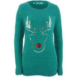 Sweter, długi rękaw bonprix dymny szmaragdowy. Niebieskie swetry damskie bonprix. Za 99.99 zł.