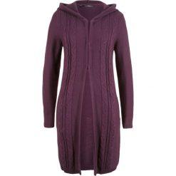 Długi sweter rozpinany z kapturem bonprix czarny bez. Fioletowe kardigany damskie bonprix. Za 89.99 zł.