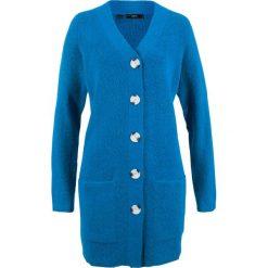 Sweter rozpinany, długi rękaw bonprix lazurowy niebieski. Niebieskie kardigany damskie bonprix. Za 99.99 zł.