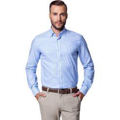 Koszula WILEA. Niebieskie koszule męskie LANCERTO, w prążki, z bawełny, button down. W wyprzedaży za 149.90 zł.